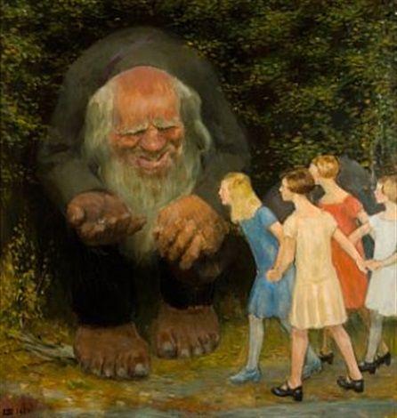 Kvinnelig nysgjerrighet by Erik Theodor Werenskiold