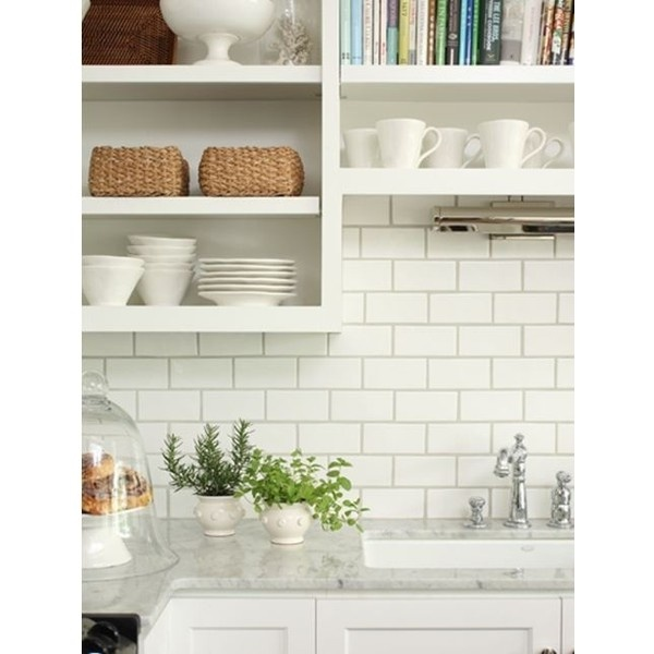 White Kitchen Tiles Grey Grout: White Subway Tile With Light Grey Grout And Grey Benchtop