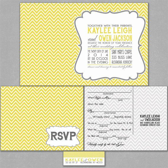 Chevron Wedding Invitation Suite in Gray and Yellow by InvitingMoments, $1.60
