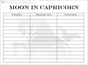 Are you are new to tracking the Moon or an experienced Moon tracker who wants to re-examine how the Capricorn Moon affects you? Download this journal page from Tarot-Lunar to note your discoveries.