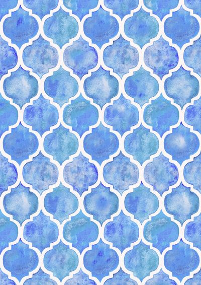 Cornflower Blue Moroccan Hand Painted Watercolor Pattern Stretched Canvas