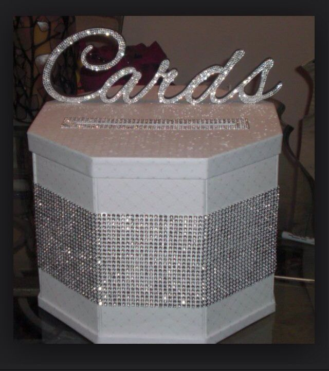 Cardbox Wedding White Silver Diy Maybe Less Bling And More Colors
