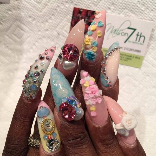 """Jenny Bui on Instagram: """"#nailed #newyork #harlem #nailpics #nailswag... ❤ liked on Polyvore featuring beauty products and nail care"""
