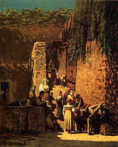 """Signorini, Telemaco (1835-1901) - 1859 Merciaio alla Spezia (Private Collection)  TELEMACO SIGNORINI (Firenze 1835 e lì vi muore nel 1901).   """"Macchiaioli"""" Painters    #TuscanyAgriturismoGiratola"""