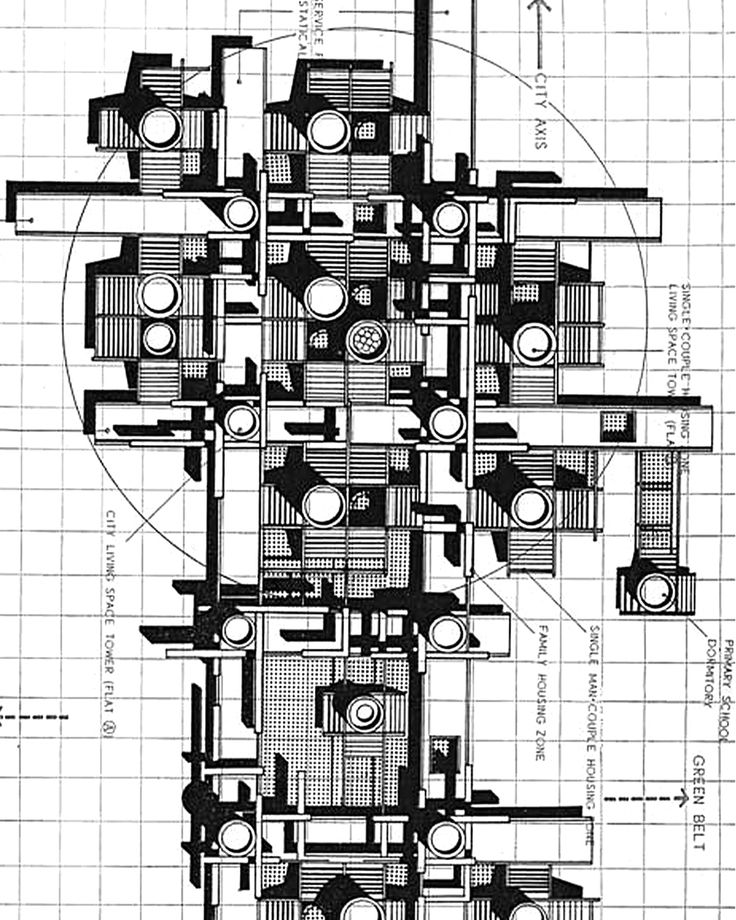 Metabolist urban plan (SLIDESHOW) for a linear axis of housing components to grow organically between green belts submitted for the Shinkenchiku '67 Competition by Hayakawa, Takaki, Kimura, Akimitsu (1967) #urbanism #architecture