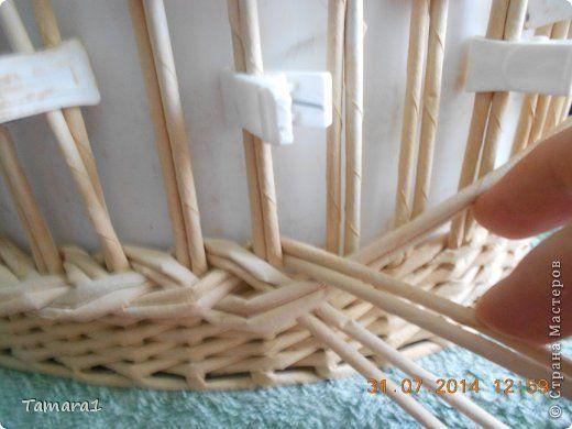Поделка изделие Плетение Корзинка-фруктовница Бумага газетная Трубочки бумажные фото 9: