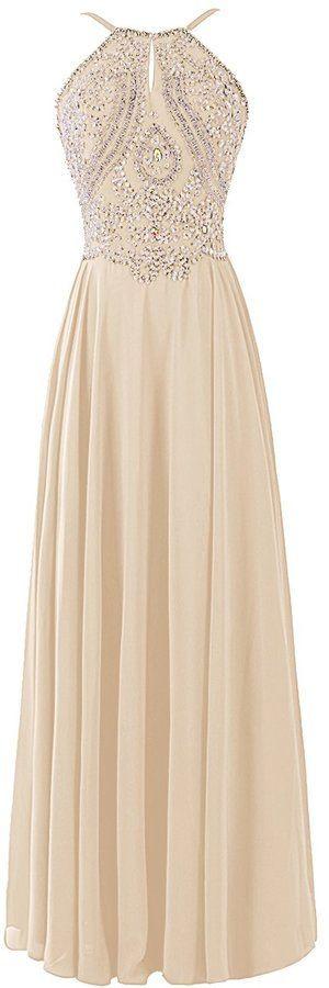 Stunning Chiffon #Backless Cheap Long #Prom Dress