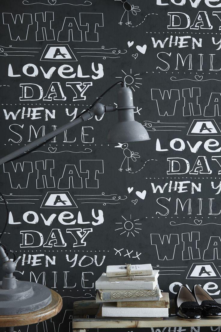 "Cozz ""Smile"" Collection Wallpaper Chalkboard, What a lovely day. #Behang #krijtbord #kinderkamer"