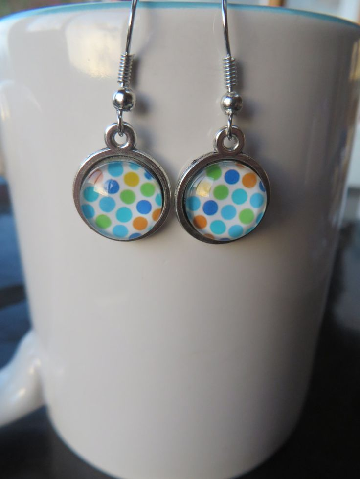 Rainbow Polka Dot Earrings 12mm - Stud, Dangle or Lever Back - Silver - Multi Color, Colour, Rainbow - pinned by pin4etsy.com