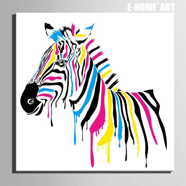 E-HOME Pintura Al Óleo de Color Cebra Decoración Decoración Para El Hogar Pintura Sobre Lienzo de Arte Moderno de La Pared Impresión de la Lona Poster Pintura de la Lona