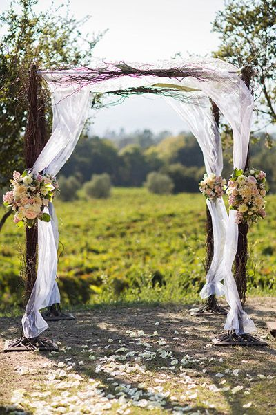 ceremony backdrop ideas - maybe something simple like this for the driftwood arbor John is building.