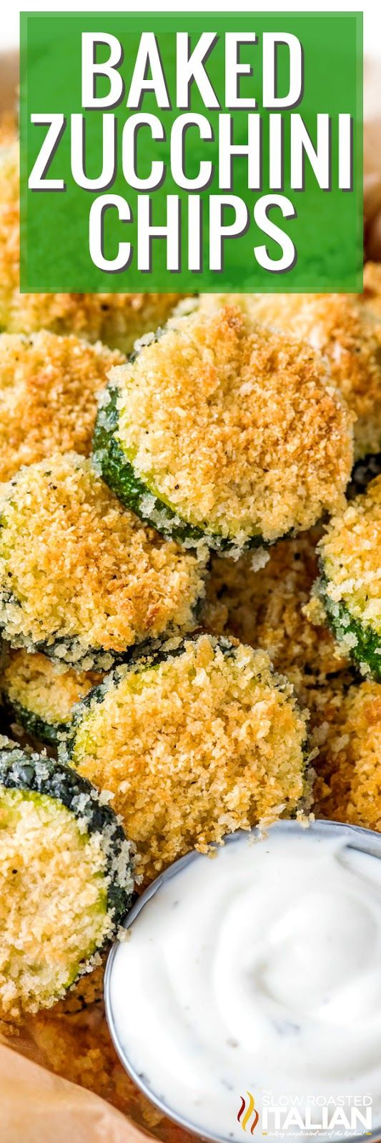 These tender Baked Zucchini Chips are coated in a simple Parmesan panko breading and are perfect for a fun appetizer or easy snack. Plus, it's easy to customize this recipe with a few herbs or your favorite dip!