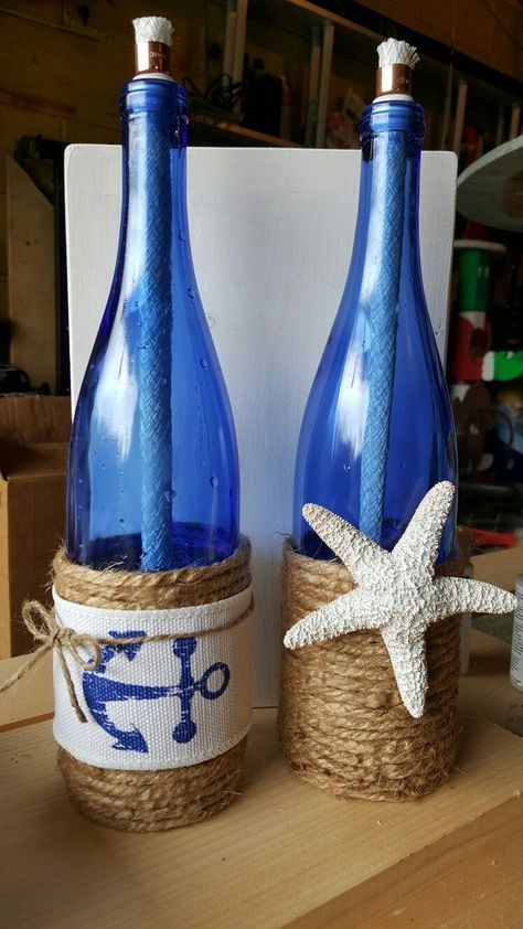 Repurposed beachy wine bottle craft.