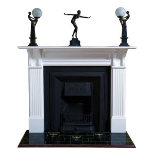 White Edwardian Timber Mantle w/ Malvern Insert. Buy at Schots in Melbourne & Geelong, Australia or online at https://www.schots.com.au/classic-edwardian-timber-mantle-kit-8863.html https://www.schots.com.au/malvern-premium-cast-iron-insert-cover-black-kai83002bk.html