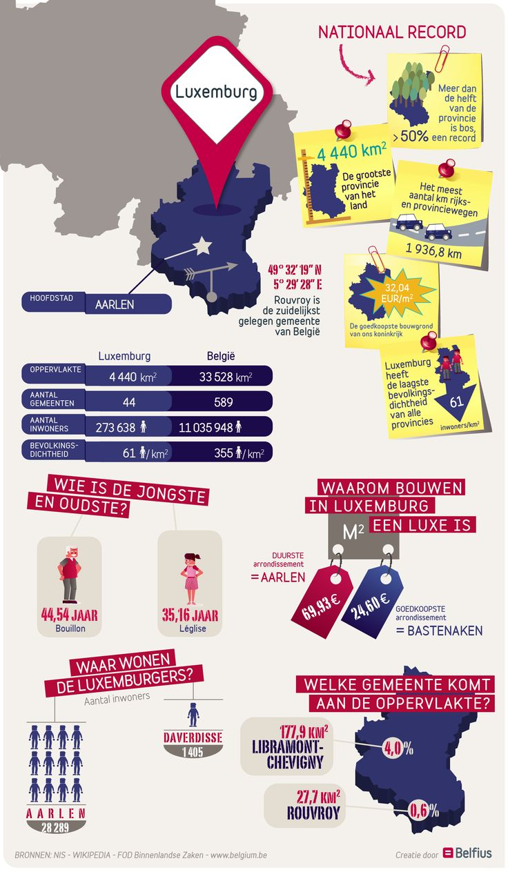 De grootste oppervlakte, het meest bossen, de goedkoopste bouwgrond, de zuidelijkst gelegen gemeente van België…: de provincie Luxemburg is op meerdere vlakken een buitenbeentje. Bekijk de infographic voor meer info over deze nieuwe provincie in onze reeks.