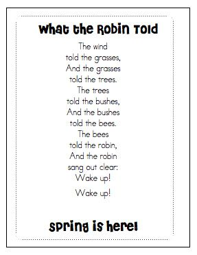 Spring Poems | What the Robin Told | Joyful Learning in KC