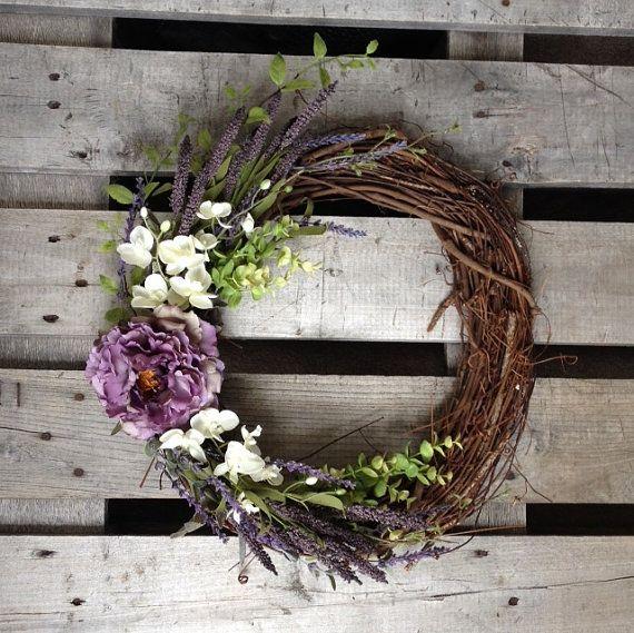 Spring Wreath Purple Wreath Rustic Wreath by TheBullBungalow