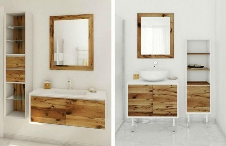 Meuble vasque salle de bain en bois patin et blanc mat - Meuble blanc et bois ...