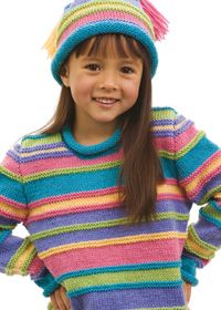 Multicolour Striped Jumper and Beanie Hat Project. To size 10. Could be unisex depending on colors used.