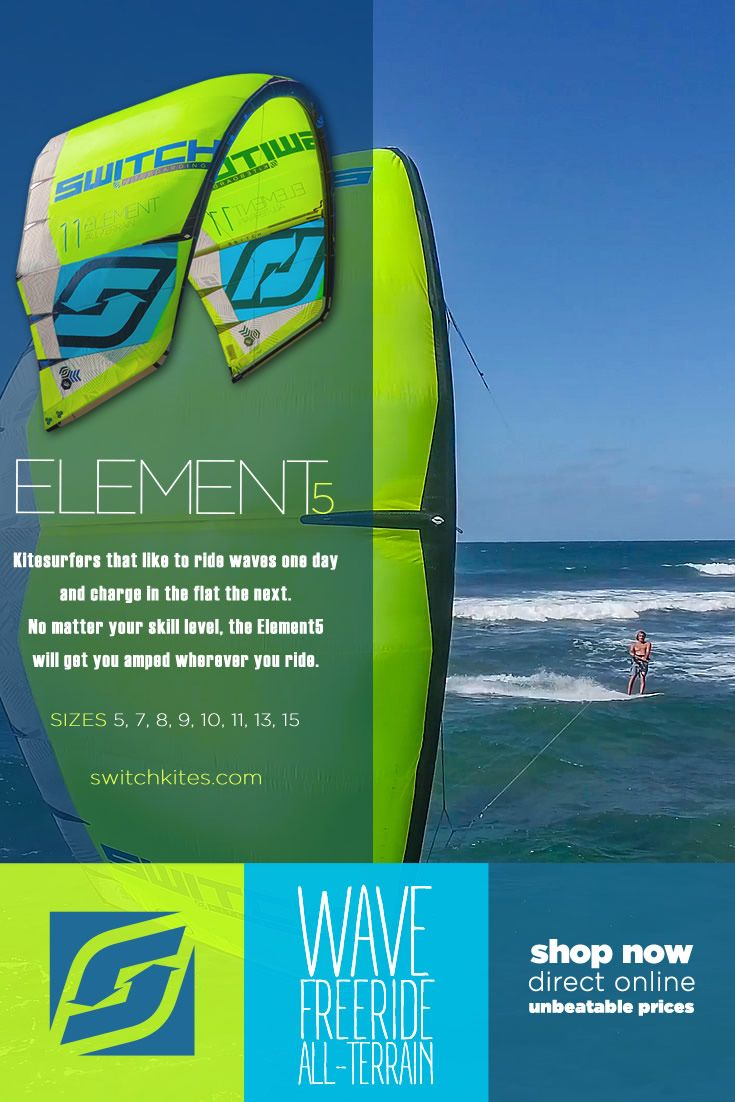 switchkitesKitesurfers that like to ride waves one day and charge in the flat the next. No matter your skill level, the Element5 will get you amped wherever you ride. #Kiteboarding #Kitesurfing #kitesurf #Kiteboard #switchkiteslife #switchkites #Element5 #wavekite #freeridekite #allterrainkite