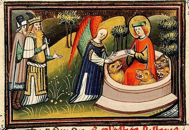 Daniel and the lion's den with Darius. Utrecht c.1430. Illum. Alexander Master. KB 78D381