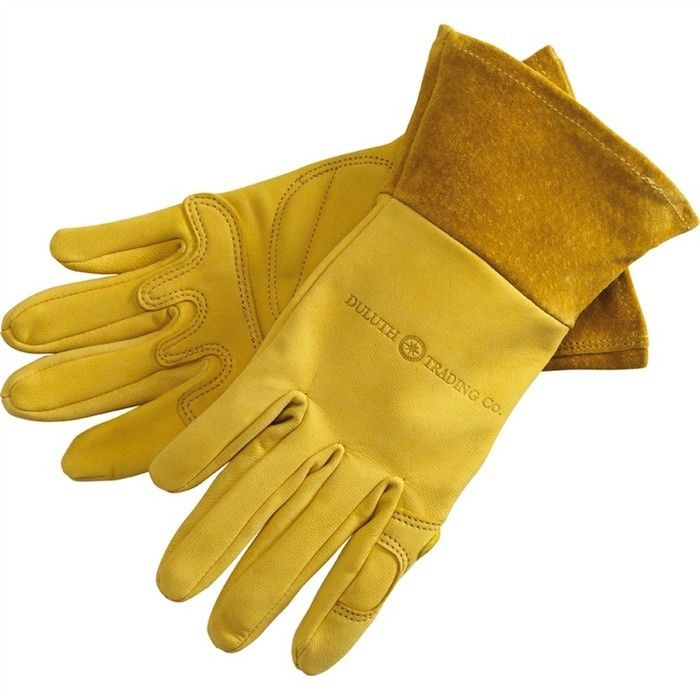The rugged Women's Gauntlet Gardening Gloves have a puncture-proof but pliable goatskin body with padded palms and a nearly 3-inch gauntlet to protect wrists and keep out debris; $39.50