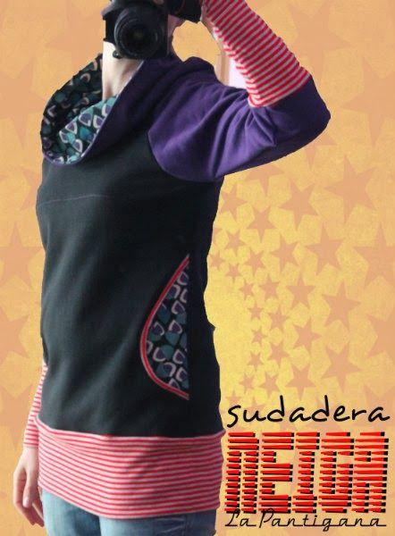 La Pantigana: SUDADERA NEIGA. Woman's colorblocked, cowlneck sweatshirt with kangaroo pocket