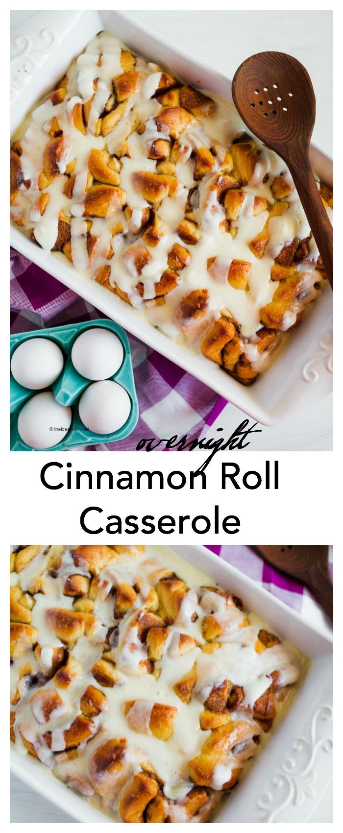 Looking for an easy Breakfast idea for Christmas Morning. Check out this delicious Overnight Cinnamon Roll Casserole Recipe.