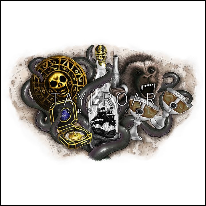Pirates of the Caribbean theme | Custom Tattoo Design | Calf Sleeve