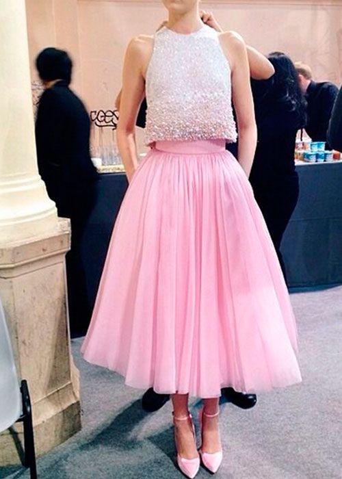 faldas para bodas midi rosa