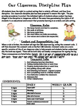 Classroom Discipline Plan pack with parent handouts, logs, & displays
