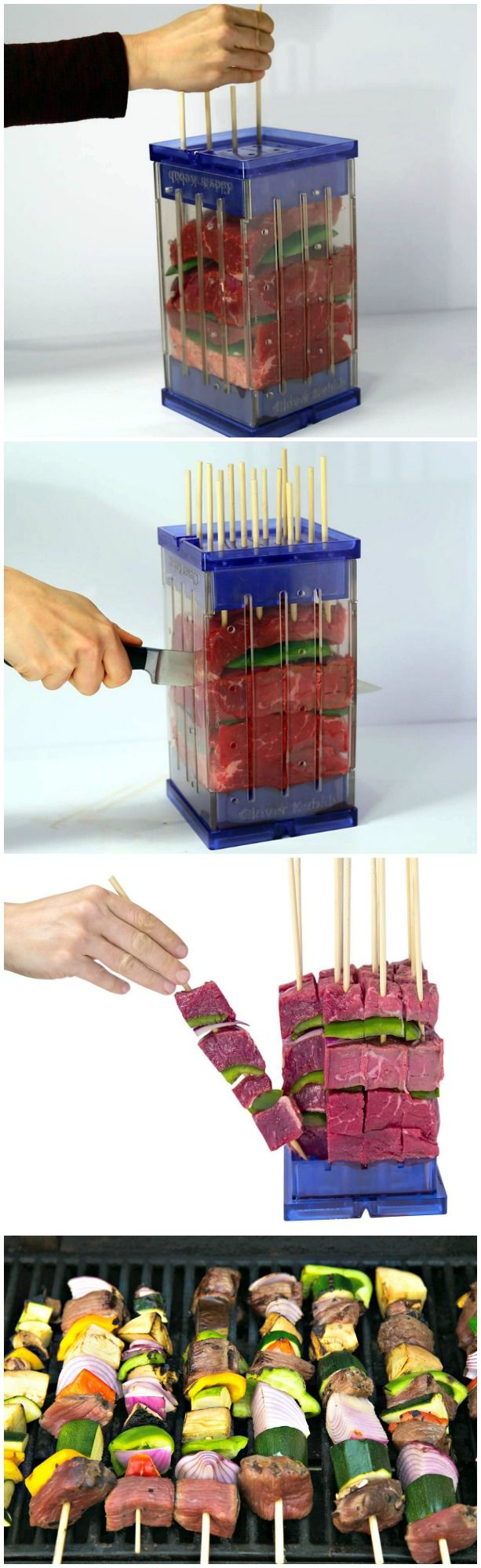 Clever Kebab allows you to quickly and easily make 16 perfect kebabs in just minutes, without the mess. Layer your ingredients, insert skewers and slice.