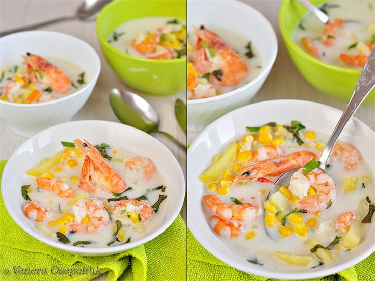 Сливочный суп с креветками, кукурузой и картофелем и Гарнир из пшена и беби-моркови.