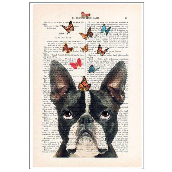 Impression de Boston Terrier Bulldog avec des papillons