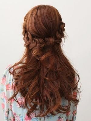 French braid on the back and curls - Hairstyles and Beauty Tips