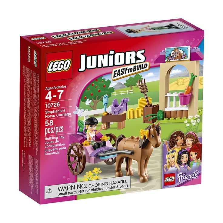 Go on a carriage ride with Stephanie and her horse. This colorful set features a carriage with rolling wheels and space in the back for a basket with green apple, a stable with fence, feed basket and carrot, a stand with grooming brush and saddle, a crate with pitchfork, and bows. LEGO Juniors sets are age-appropriate building experiences for ages 4-7, with fun and recognizable LEGO Friends sets that give children a great start with the LEGO brick. Includes a mini-doll plus a horse.<ul>LEGO…