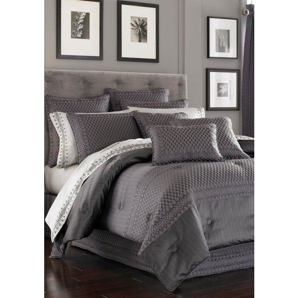 J Queen New York Gray Bohemia Bedding Collection (€330) ❤ liked on Polyvore featuring home, bed & bath, bedding, grey, grey bedding, grey bedding sets, gray bedding, grey bed set and pattern bedding