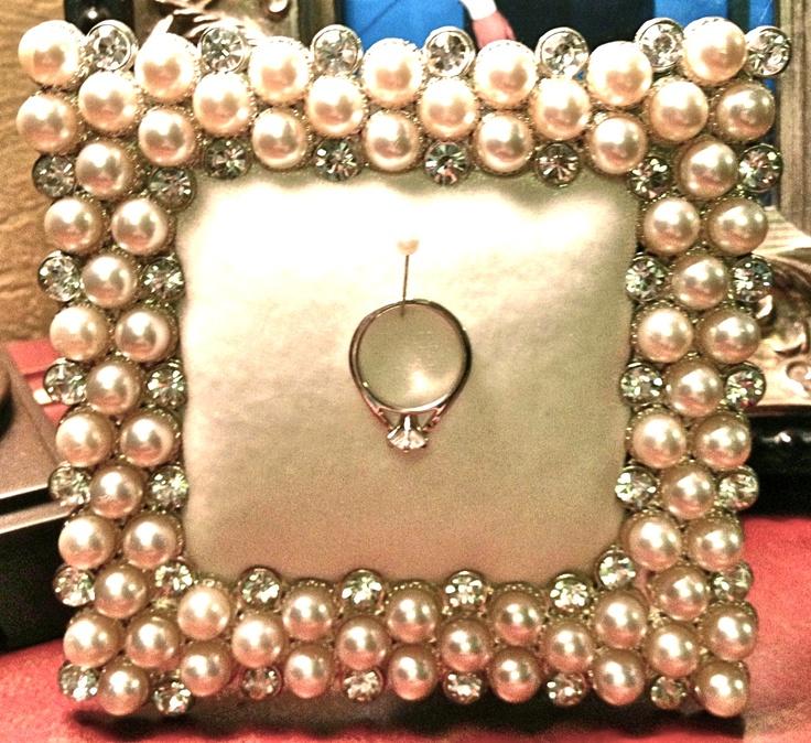 DIY ring holder.  Pretty frame, cardboard, fabric, and batting