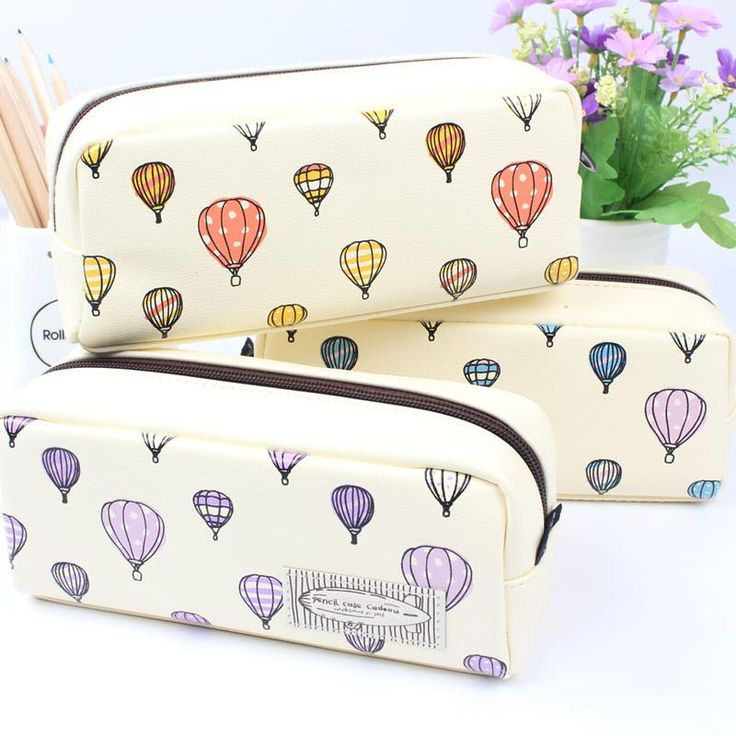 Hand drawn hot air balloon Pencil Case Large Capacity Cute Student  Pencil Bag Sweet Stationery