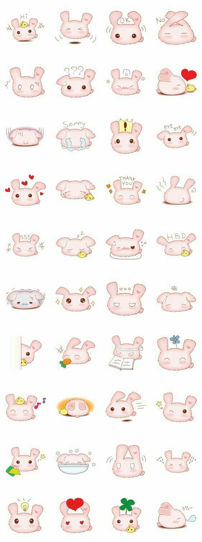 Bunny, rabbit, text, emojis; Kawaii