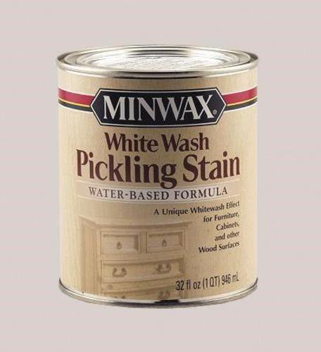 White Wash Gel Stain: Minwax 61860 Water Based Pickling Wood Stain, Quart, White