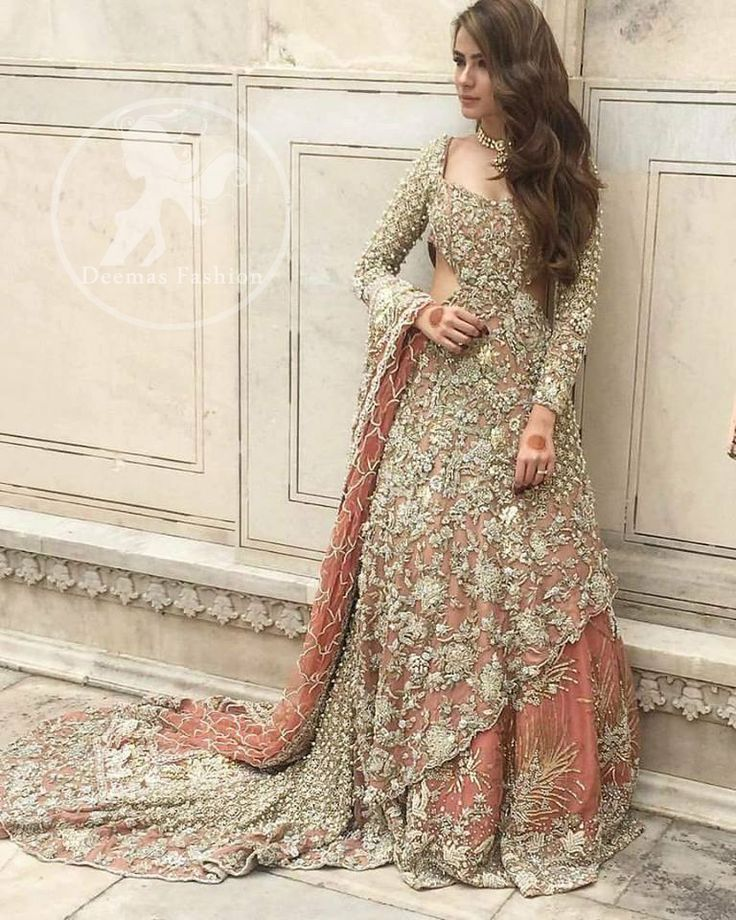Spectacular Pakistani Bridal Dress Peach Back Trail Maxi Embroidered Lehenga