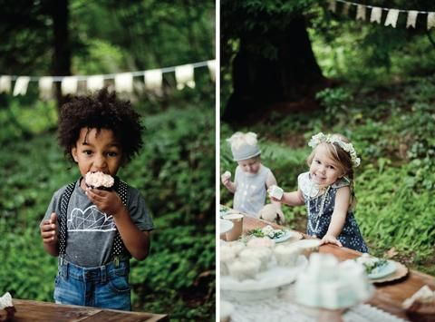 Whimsical Woodland Picnic – Little & Lively Photography: @efraserphoto Event Styling: @creativewifeandjoyfulworker Children's Outfit Styling: @littleandlively Outfit Makers: Floral Dress, Triangle Dress, Floral Romper, Polkadot Romper and Gold Bug Tank Top: @littleandlively Lace Toddler Kimonos: @petiteprairiekids Fresh Floral Crowns: @mint.and.moss