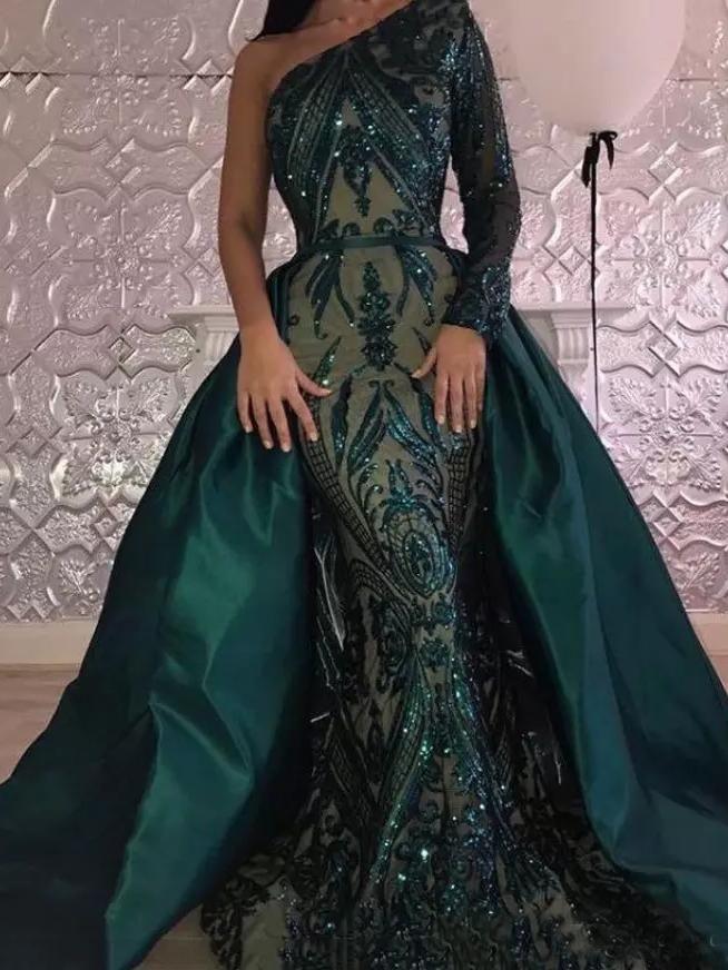 2018 Chic Mermaid One Shoulder Lace Prom Dresses Unique Dark Green ... 6626ef47719f