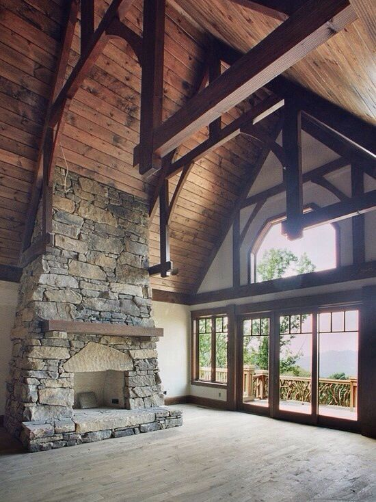 Stone fireplace and cathedral ceilings  Barns