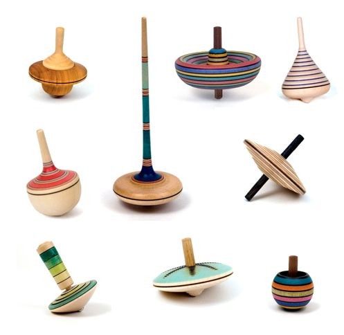 The Wooden Wagon handcrafted collection of wooden spinning tops
