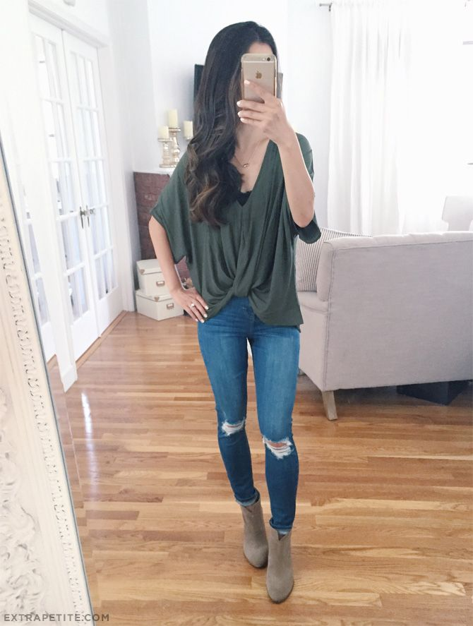 casual outfit idea // drape top, distressed petite skinny jeans, ankle booties