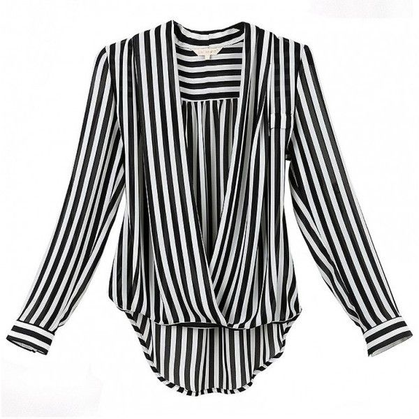 Elegant Temperament Stand Collar Striped Long Sleeve Chiffon Blouse ($33) ❤ liked on Polyvore featuring tops, blouses, msfairy, long sleeve blouse, striped blouse, chiffon top, striped chiffon top and stripe blouse