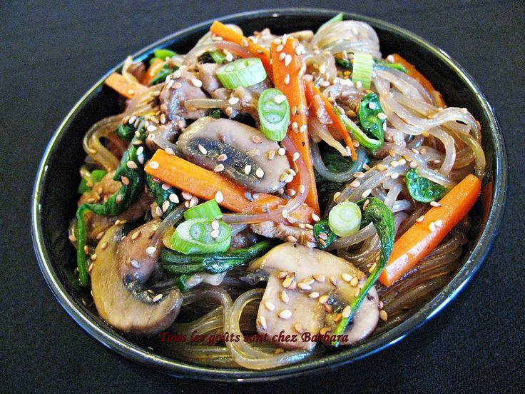 Tous les goûts sont chez Barbara: Japchae (nouilles coréennes au boeuf et aux légumes)