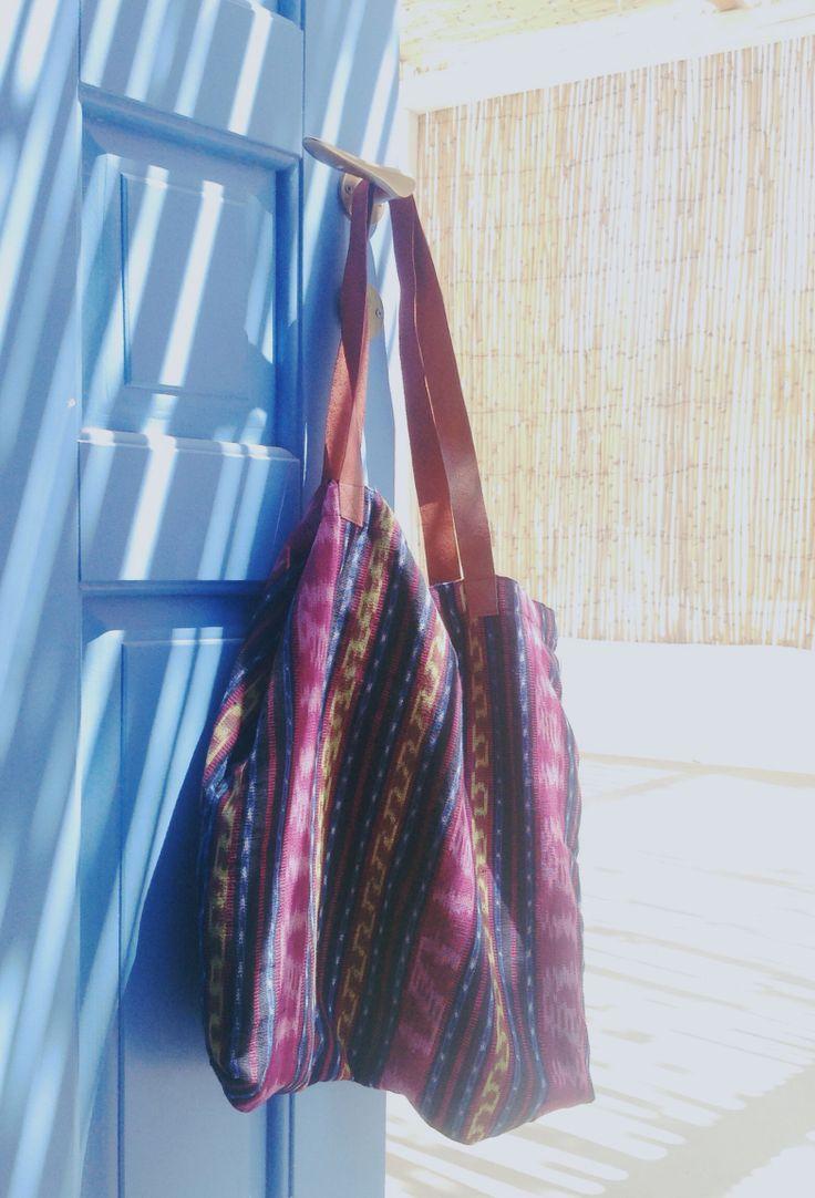 Hand woven ikat tote bag